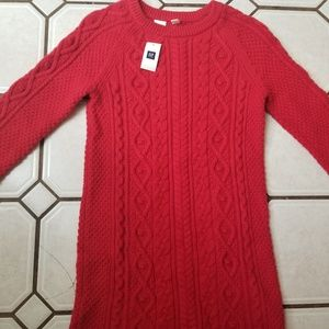 NWT! GAP Kids Red Cable Knit Sweater Dress XL (12)